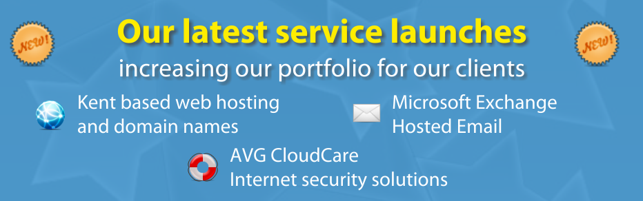 Hosted Exchange email, web hosting, antivirus, AVG CloudCare and domain names